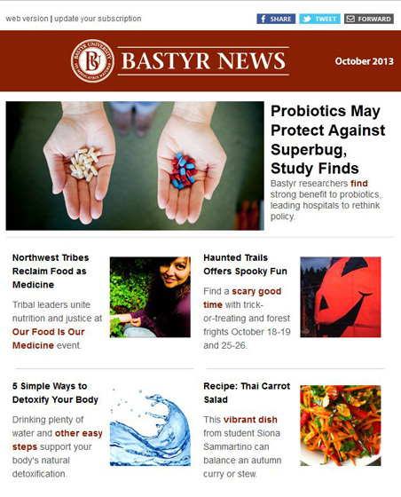 Bastyr University newsletter redesign