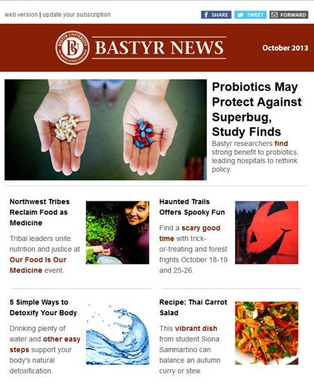 Bastyr University newsletter redesign